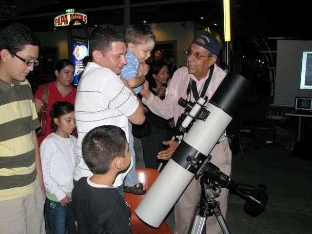 Child and telescope