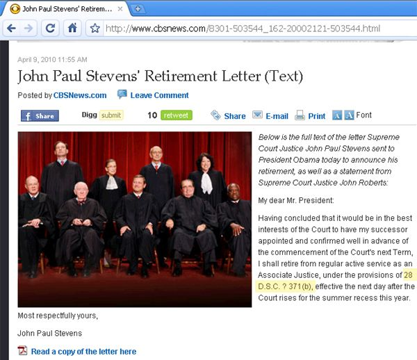 CBS News Typo of Justice Stevens' Resignation Letter